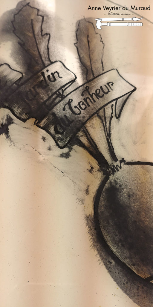Potes en joie, grisaille, enseigne par Anne Veyrier du Muraud