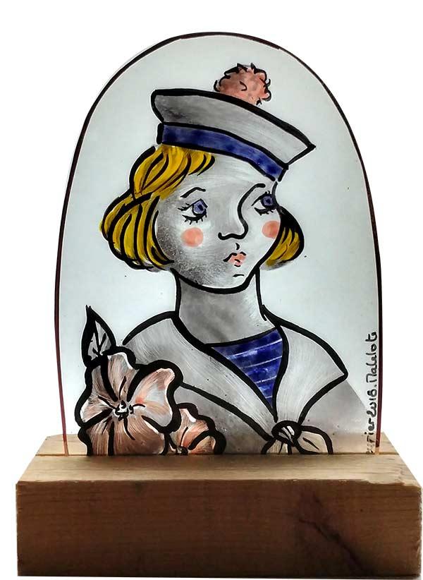 Matelote old-school en peinture sur verre