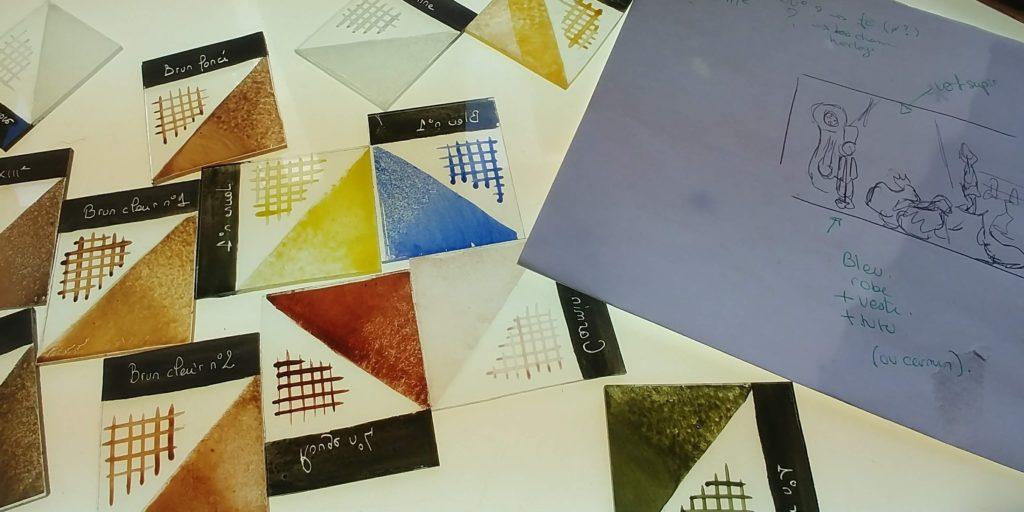 échantillonnier de grisaille, peinture sur verre pour vitraux