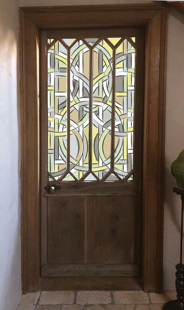 Maquette pour vitrail de création dans une porte de salle de bain, création Anne Veyrier du Muraud